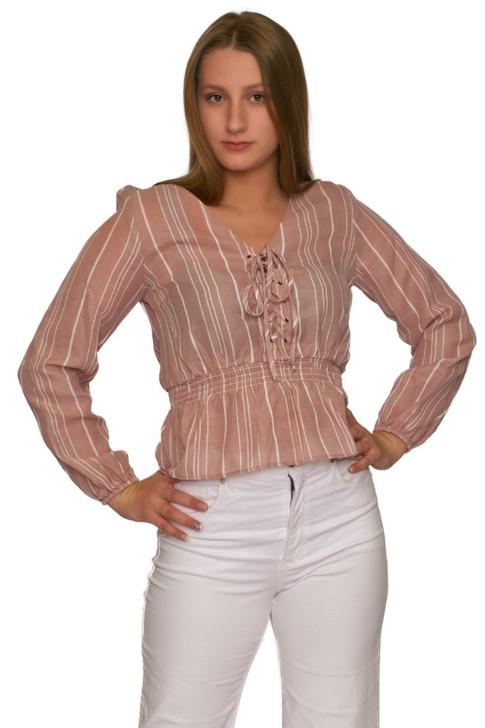 Wholesale Crepe Pink Bishop Long Sleeve Lacing Blouse (Front)