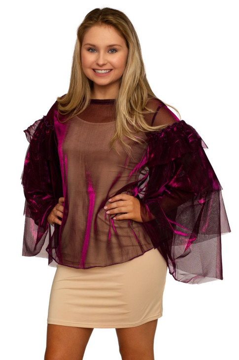 Wholesale Fuchsia Lace Organza Sexy Top with Layered Ruffle Sleeve  (Front)