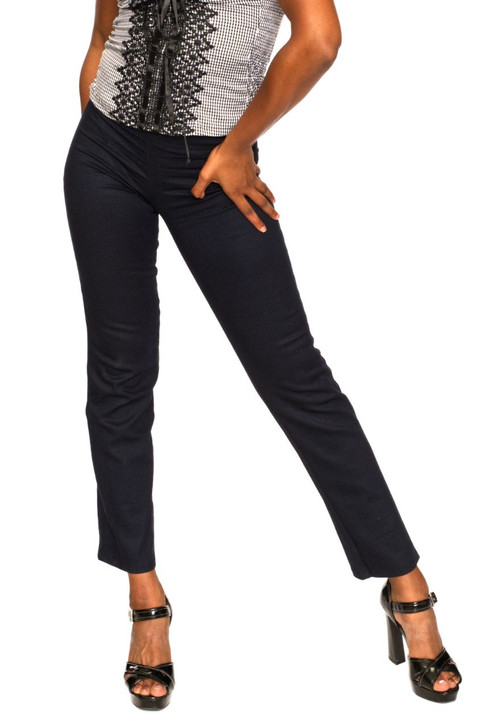 Wholesale Navy Blue Straight Stretchy Pants (Front)