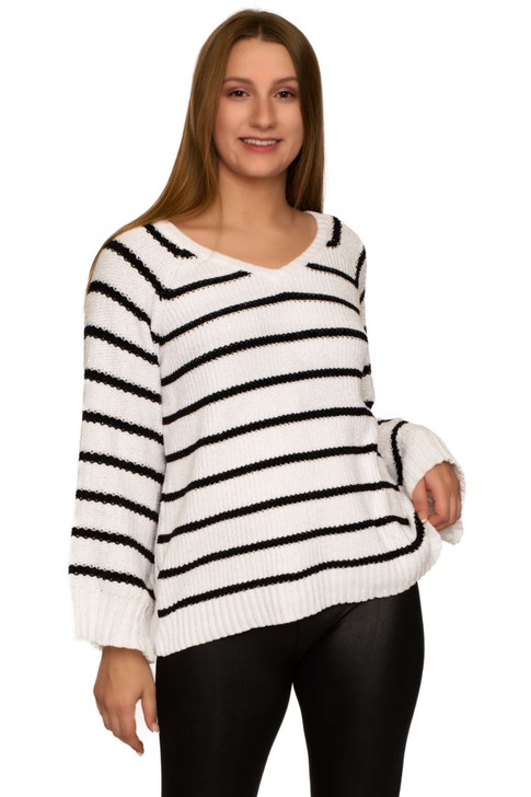 Wholesale Knitted Striped Long Sleeve Shirt (Front)
