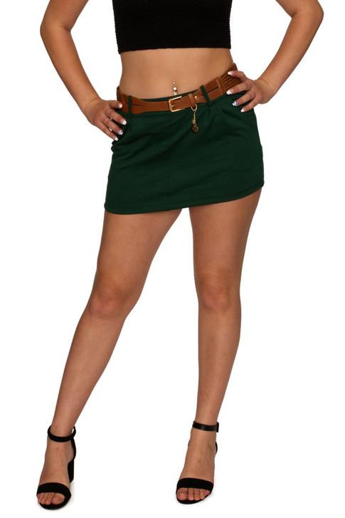 Wholesale Emerald Green Mini Skirt (Front)
