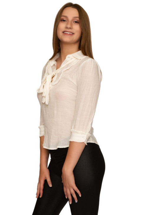 Wholesale White Collar Blouse with Neck Tie (Front)