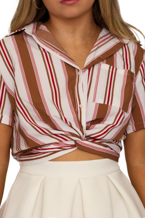 Wholesale Brown Stripped Front Twist Blouse (Front)