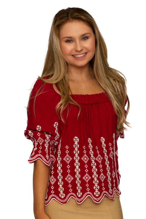 Wholesale Red Squared Neck Blouse (Front)