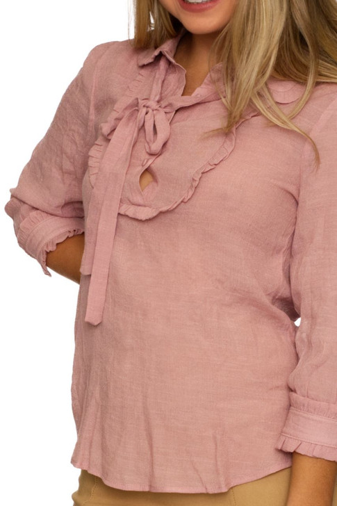 Wholesale Pink Collar Blouse with Neck Tie (Front)