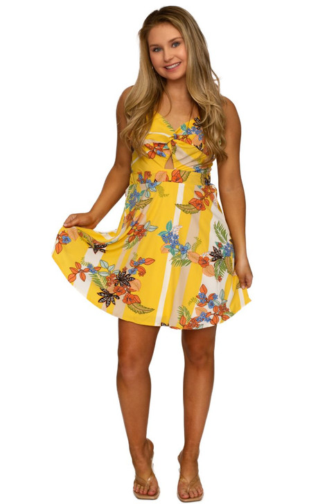 Wholesale Yellow Floral Tie Back Dress (Front)