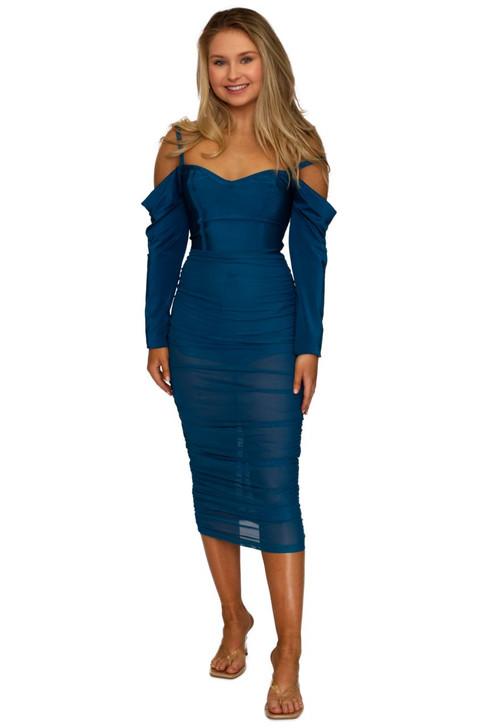 Wholesale Blue Open Shoulder Scrunched Up Dress (Front)