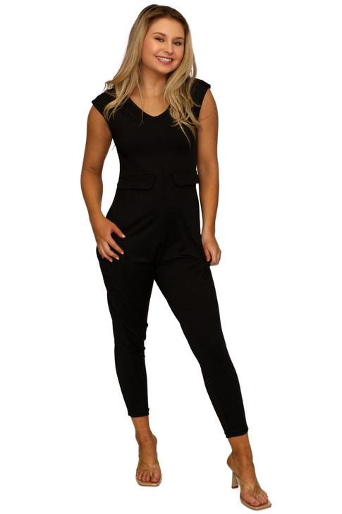 Wholesale Black Sleeveless Jumpsusit  (Front)