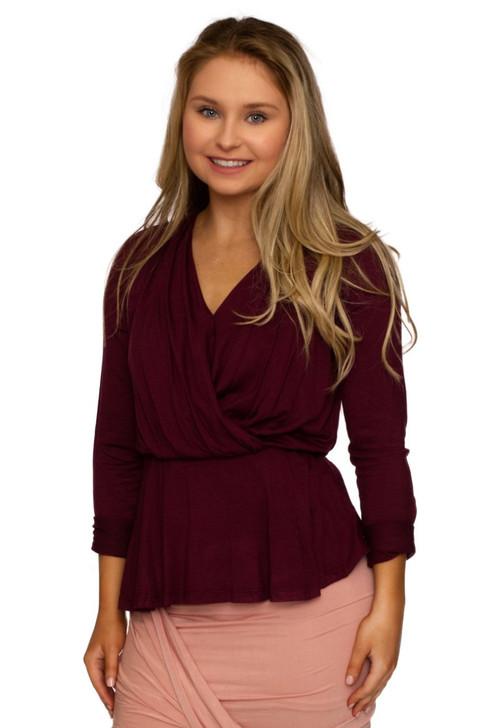 Wholesale Purple V-neck Long Sleeve Loose Blouse (Front)