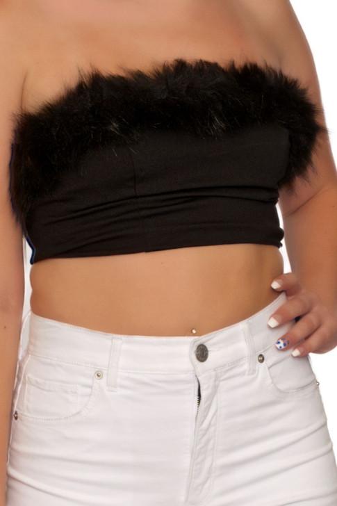 Wholesale Black Strapless Fur Trim Tube Top (Front)