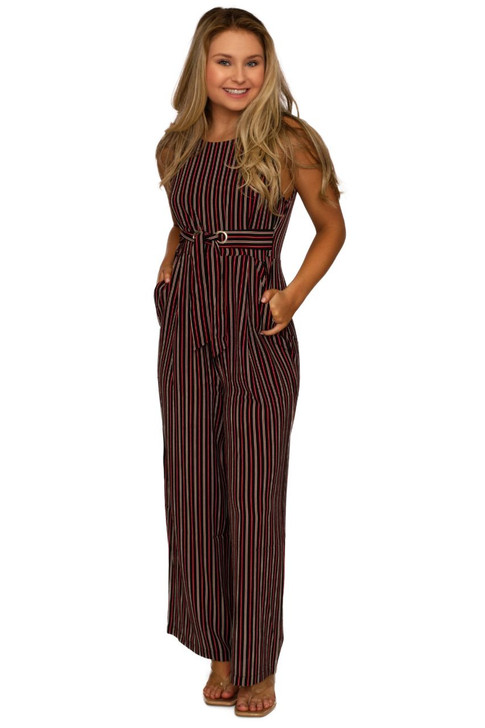 Wholesale Black Stripped Sleeveless Jumpsuit  (Front)