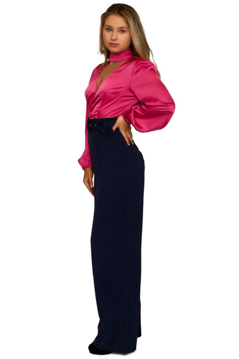 Wholesale Pink Long Sleeve with Neck Tie  Jumpsuit (the first Detail)