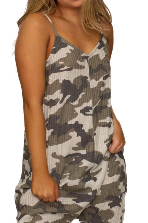 Wholesale Camo V-neck Jumpsuit (Front)