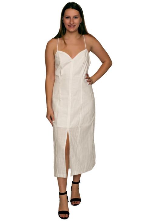 Wholesale White V-neck Summer Dress (Front)