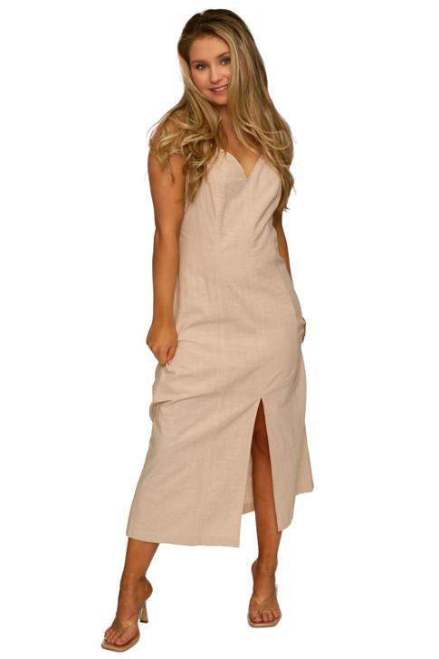 Wholesale Beige V-neck Summer Dress (Front)