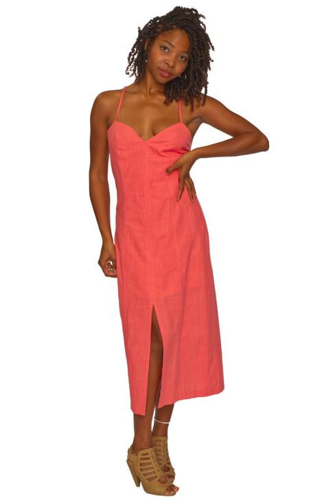 Wholesale Coral V-neck Summer Dress (Front)