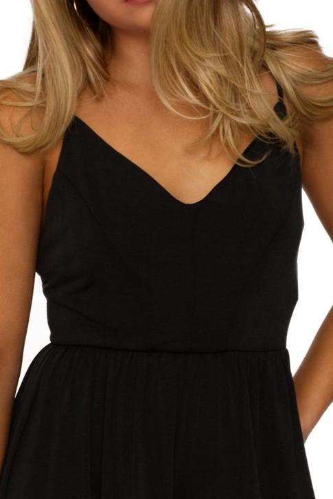 Wholesale Black V-neck Spaghetti Strap Jumpsuit (Front)