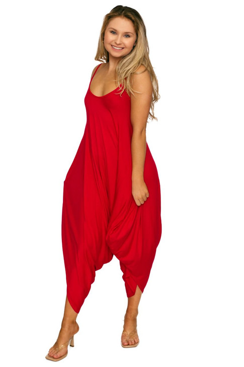 Wholesale Red Casual Romper Jumpsuit (Front)