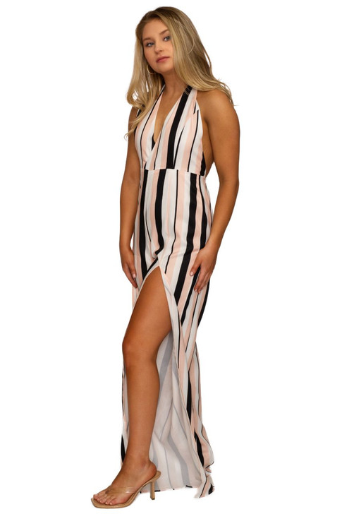Wholesale Open Back Stripped Jumpsuit (Front)