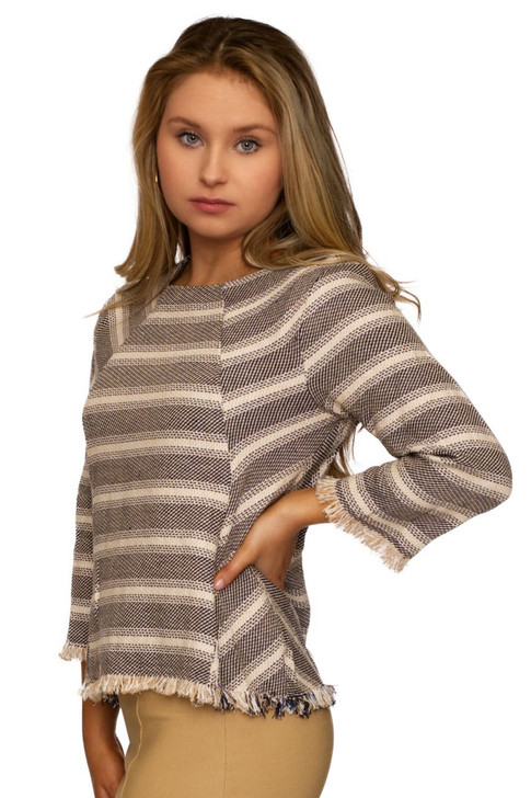 Wholesale Black Stripped Knitted Long Sleeve (Front)