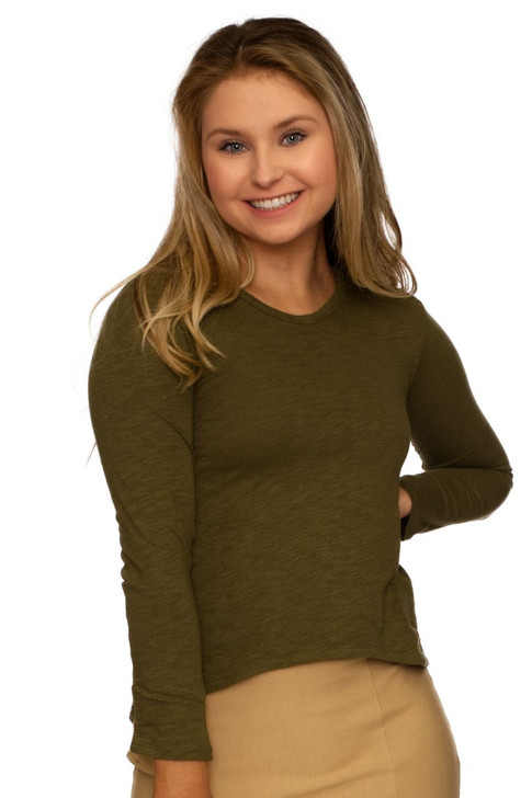 Wholesale Olive Green Basic Long Sleeve Shirt (Front)