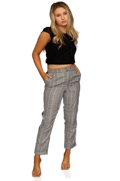 Wholesale Gray Plaid Formal Pants (Front)