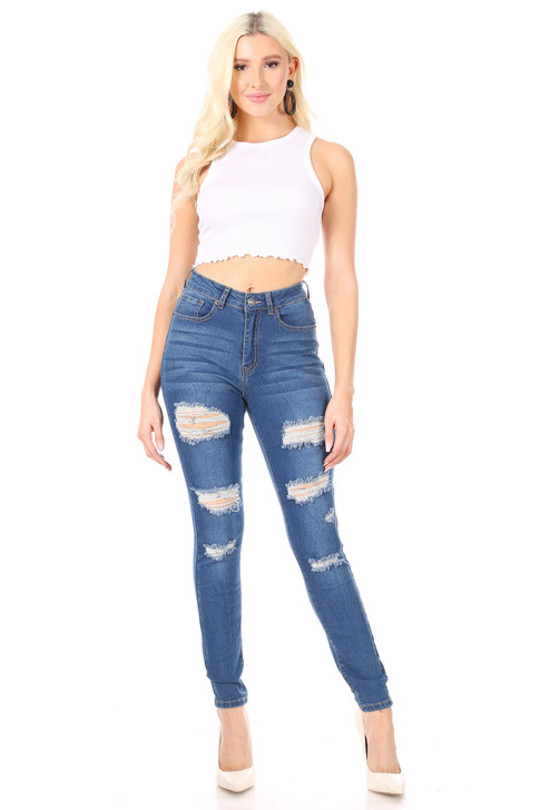 Wholesale Ripped Skinny High Waisted Jeans #1 Medium Blue (Front)