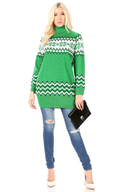 Wholesale Green Geometric Knitted Christmas Sweater (Front)