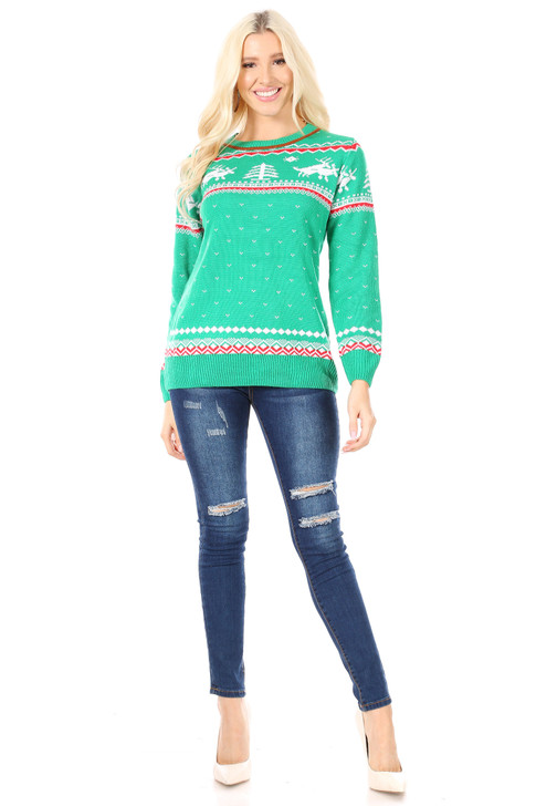 Wholesale Green Knitted Sweater with Reindeers (Front)