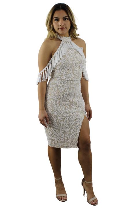 Wholesale Tassel Bodycon Midi Dress  (Front)
