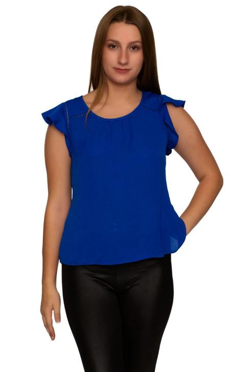 Wholesale Royal Blue Ruffled Sleeve Blouse (Front)