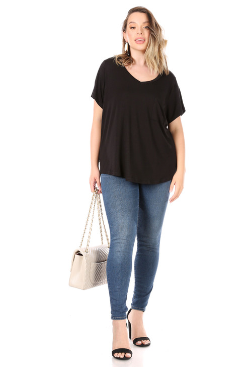 Wholesale Black Shirt with Pocket (Front)