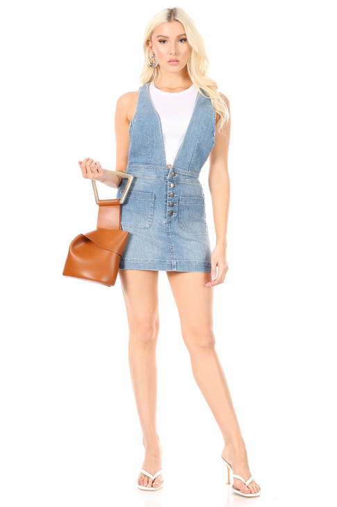 Wholesale Denim Skirt Overalls (Front)