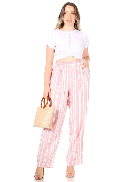 Wholesale Pink Striped Summer Pants (6pcs) front