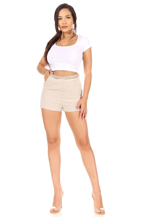 Wholesale Beige Knitted Shorts (Front)