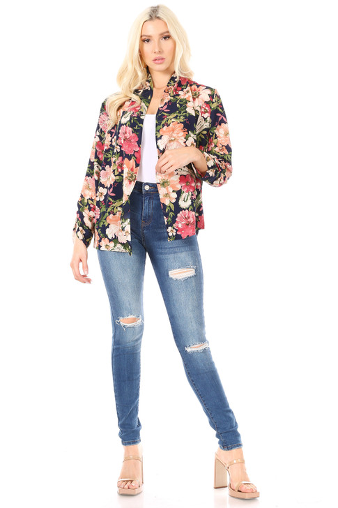 Wholesale Navy Blue Floral Long Sleeve Cardigan (Front)