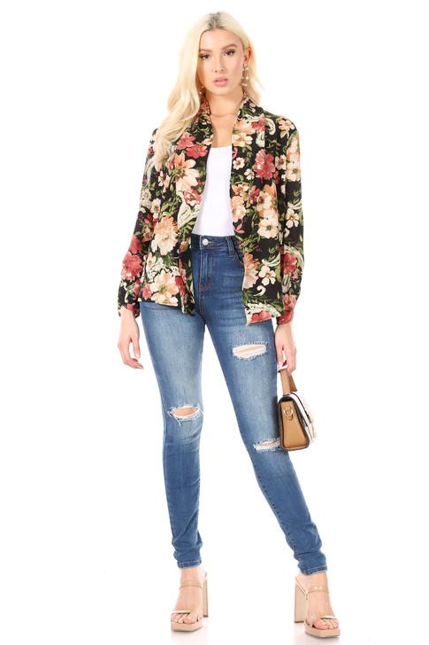 Wholesale Black Floral Long Sleeve Cardigan (Front)