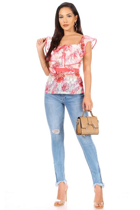 Wholesale Floral V-neck Summer Ruffle Blouse (Front)