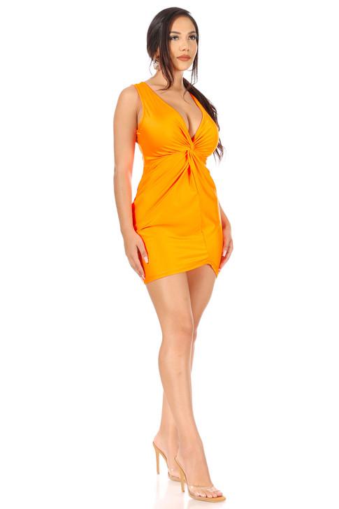 Wholesale Neon Orange V-neck Mini Dress (Front)