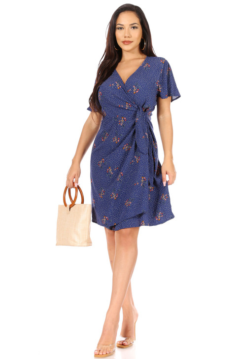 Wholesale Blue Polka Dot and Floral Wrap Sundress (Front)