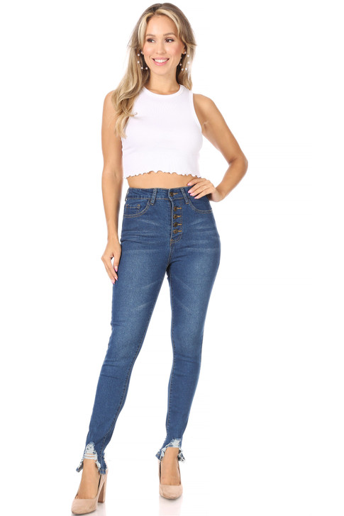 Wholesale Button Up Skinny Jeans with Bottom Distressed (Front)