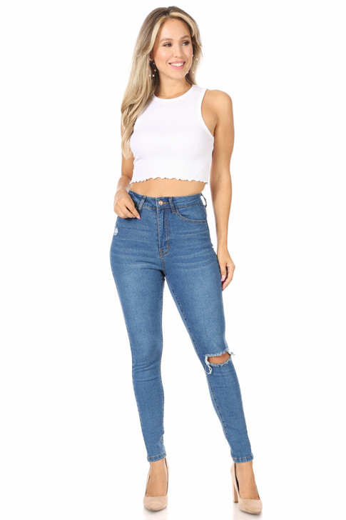 Wholesale Skinny High Waisted Jeans in Medium Wash (Front)