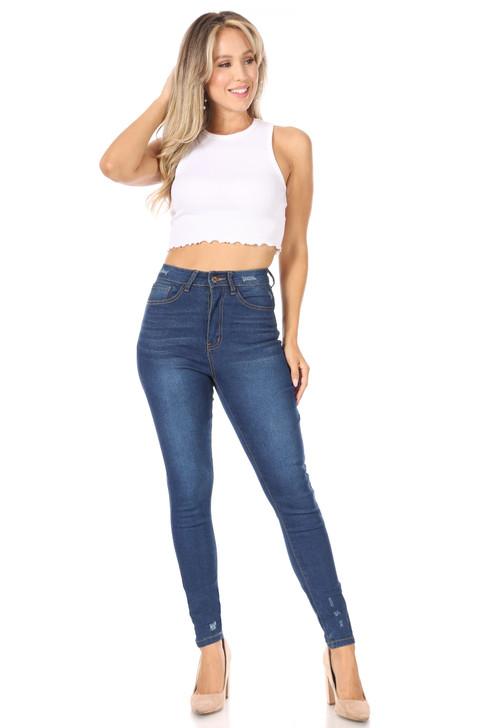 Wholesale Dark Denim Skinny High Waisted Jeans (Front)