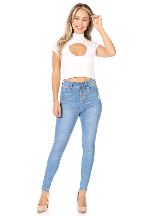 Wholesale Light Denim Button Up Skinny High Waisted Jeans (Front)