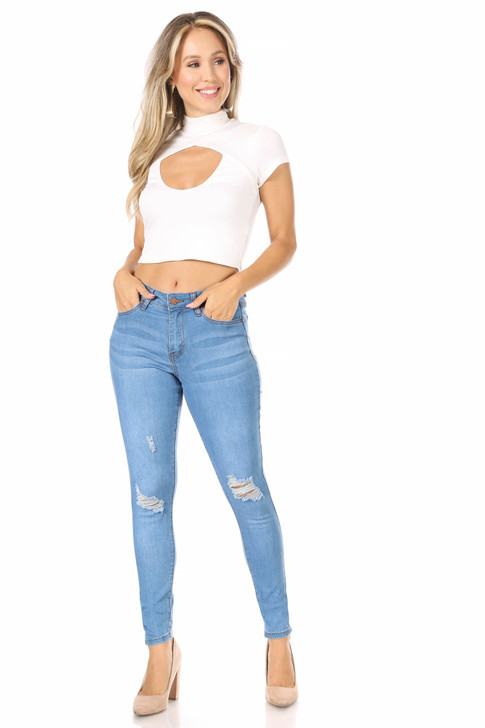 Wholesale Light Wash Distressed Skinny Jeans (Front)