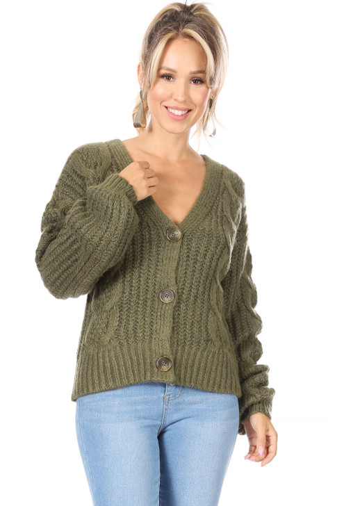 Wholesale Green Knitted Cardigan with Big Buttons (Front)