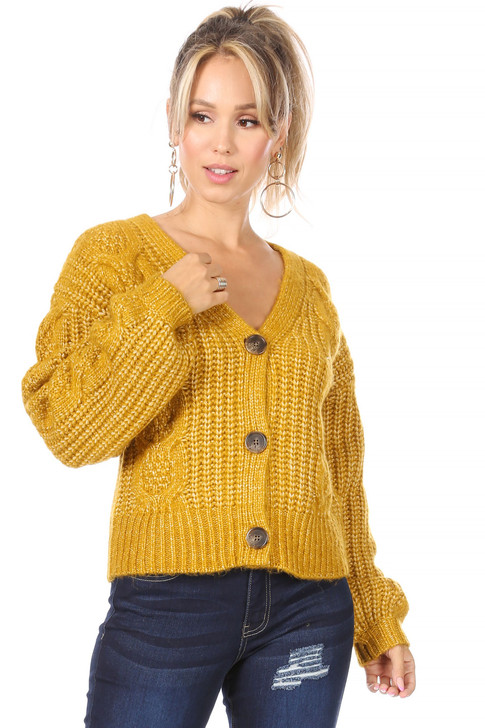 Wholesale Mustard Knitted Cardigan with Big Buttons (Front)