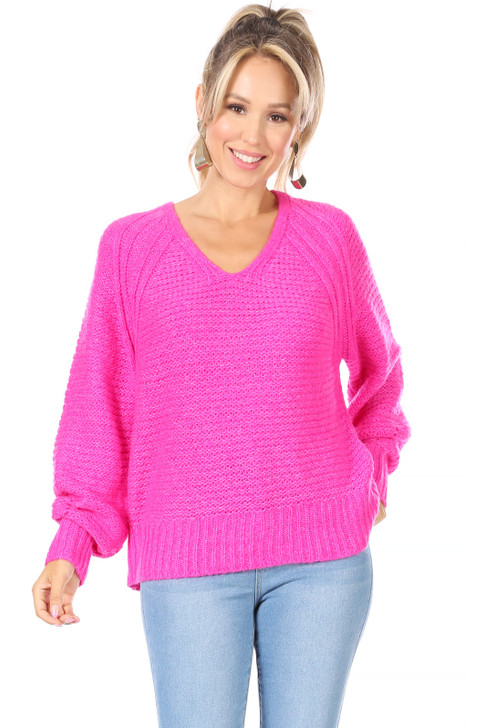 Wholesale Hot Pink Lightweight Knitted Sweater (Front)