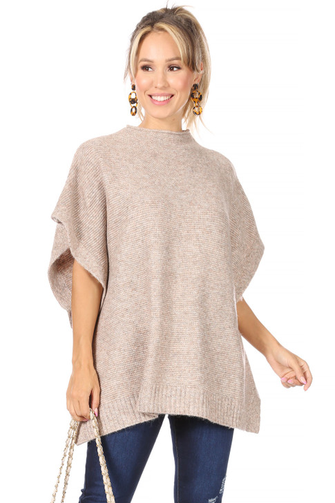 Wholesale Oatmeal Poncho Sweater (Front)