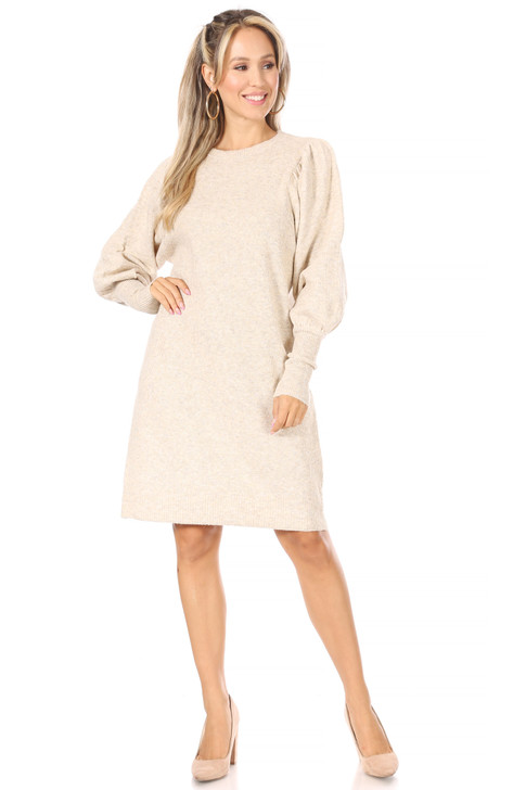 Wholesale Cream Knitted Sweater Dress (Front)